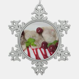 Ukrainian Cherry Varenyky-Perogies Snowflake Pewter Christmas Ornament