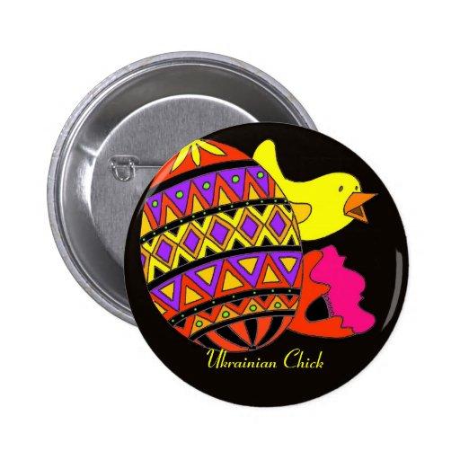 Ukrainian Chick Folk Fest Fun Pins