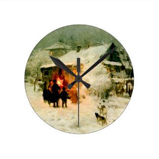 Ukrainian Christmas Carolers Round Clock