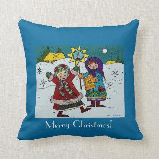 Ukrainian Christmas Carollers Throw Pillow