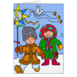 Ukrainian Christmas Carollers to Personalize Greeting Card