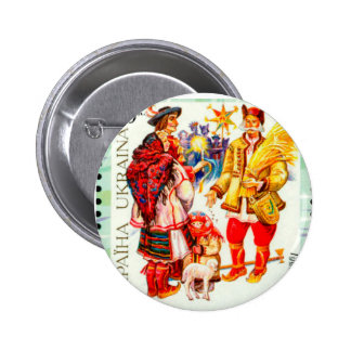 Ukrainian Christmas Star & Didukh Pinback Button