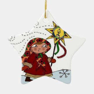 Ukrainian Christmas Star Double-Sided Star Ceramic Christmas Ornament