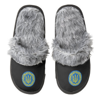 Ukrainian coat of arms slippers pair of fuzzy slippers