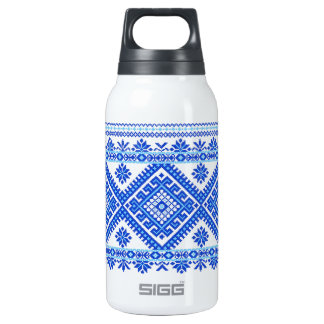 Ukrainian Cross Stitch Blue Print 10 Oz Insulated SIGG Thermos Water Bottle