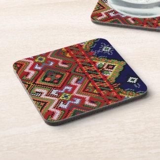 Ukrainian Cross Stitch Embroidery Cork Coaster 6 P