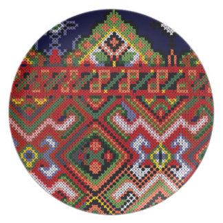 Ukrainian Cross Stitch Embroidery Melamine Dinner Melamine Plate