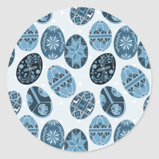 Ukrainian Easter eggs blue pattern Classic Round Sticker