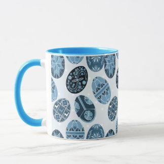 Ukrainian Easter eggs blue pattern Mug