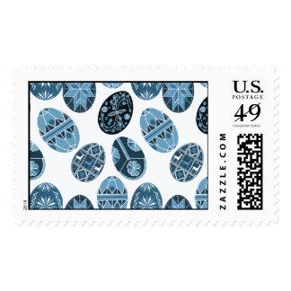 Ukrainian Easter eggs blue pattern Postage Stamp