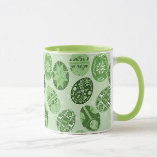 Ukrainian Easter eggs green  pattern Mug