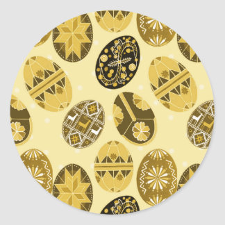 Ukrainian Easter eggs pattern -yellow Classic Round Sticker