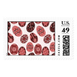 Ukrainian Easter eggs red pink pattern Postage Stamp