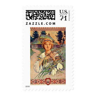 Ukrainian Easter: Vintage Girl with Pussy Willow Postage