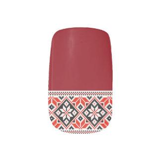 Ukrainian Embroidery Black & Red Geometric Minx Nail Art