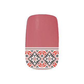 Ukrainian Embroidery Black & Red Geometric Minx Nail Wraps