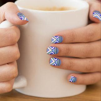 Ukrainian Embroidery Blue Geometric Nail Art Wraps