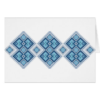 Ukrainian embroidery blue vyshyvanka card