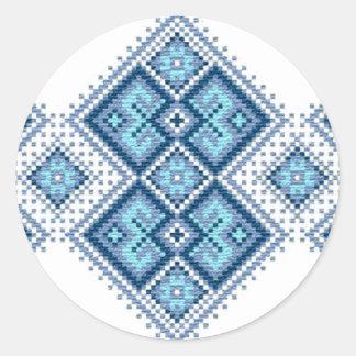 Ukrainian embroidery blue vyshyvanka classic round sticker