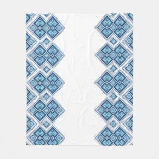 Ukrainian embroidery blue vyshyvanka fleece blanket