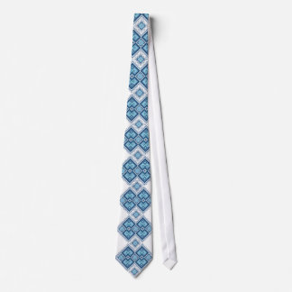 Ukrainian embroidery blue vyshyvanka neck tie