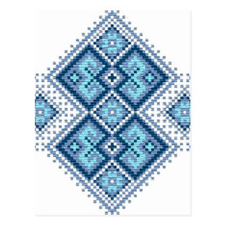 Ukrainian embroidery blue vyshyvanka postcard