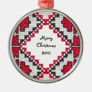 Ukrainian Embroidery Metal Ornament
