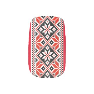 Ukrainian Embroidery Nail Art Black and Red