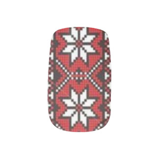 Ukrainian Embroidery Nail Art Black and Red Suns