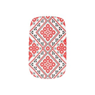 Ukrainian Embroidery Red Geometric Nail Art Wraps