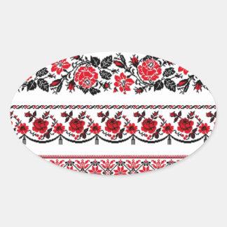 UKrainian ethnic pattern Oval Sticker