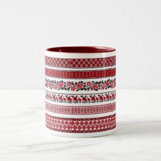 UKrainian ethnic pattern Two-Tone Coffee Mug