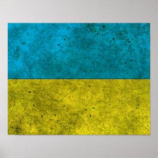 Ukrainian Flag Aged Steel Effect Poster