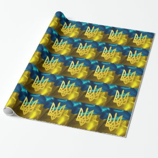 Ukrainian Flag and Tryzub Gift Wrap