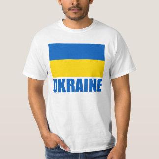 Ukrainian Flag Blue Text Tee Shirts