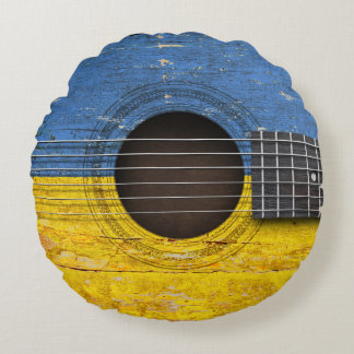 Ukrainian Flag on Old Acoustic Guitar Round Pillow