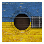 Ukrainian Flag on Old Acoustic Guitar Poster