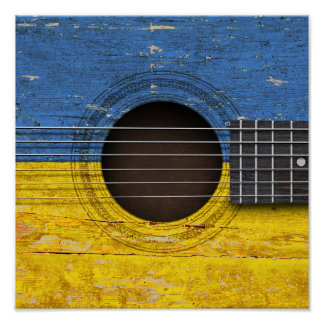 Ukrainian Flag on Old Acoustic Guitar Poster