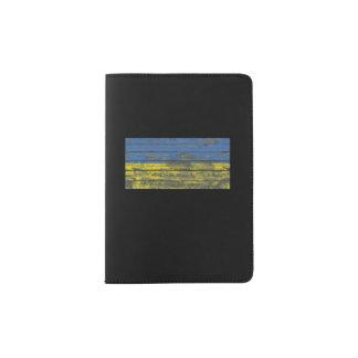 Ukrainian Flag on Rough Wood Boards Effect Passport Holder