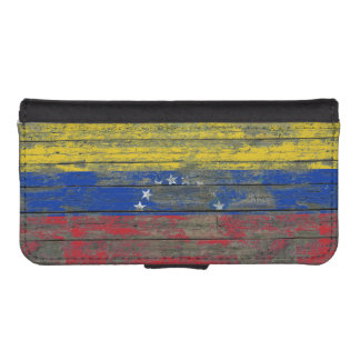 Ukrainian Flag on Rough Wood Boards Effect Phone Wallet Cases