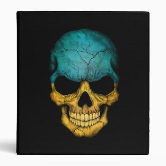 Ukrainian Flag Skull on Black 3 Ring Binders