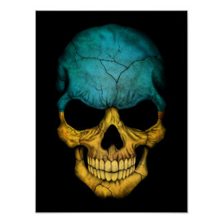 Ukrainian Flag Skull on Black Print