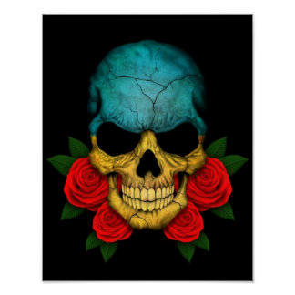 Ukrainian Flag Skull with Red Roses Posters