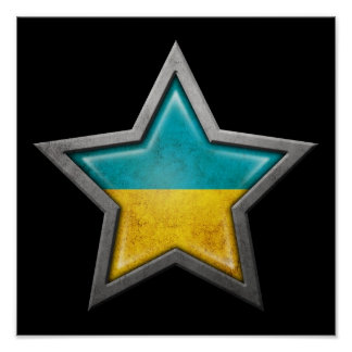Ukrainian Flag Star on Black Print