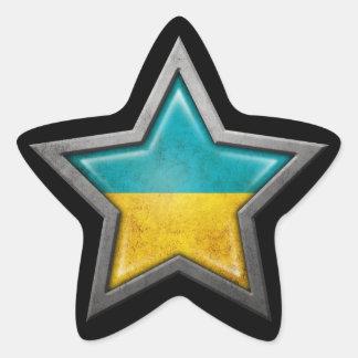Ukrainian Flag Star on Black Star Sticker