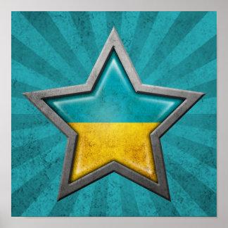 Ukrainian Flag Star with Rays of Light Print