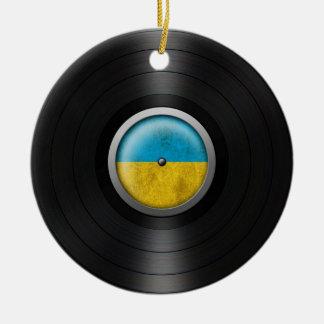Ukrainian Flag Vinyl Record Album Graphic Ceramic Ornament