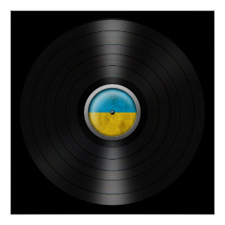 Ukrainian Flag Vinyl Record Album Graphic Print