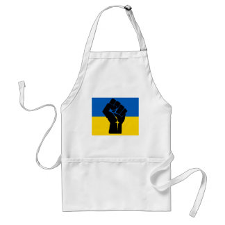 Ukrainian Flag with Black Fist Adult Apron