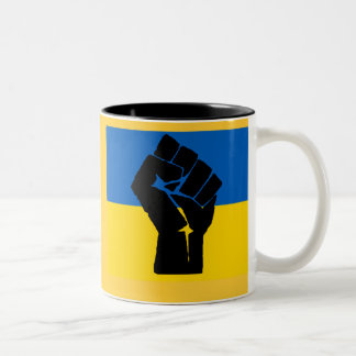 Ukrainian Flag with Black Fist Mugs